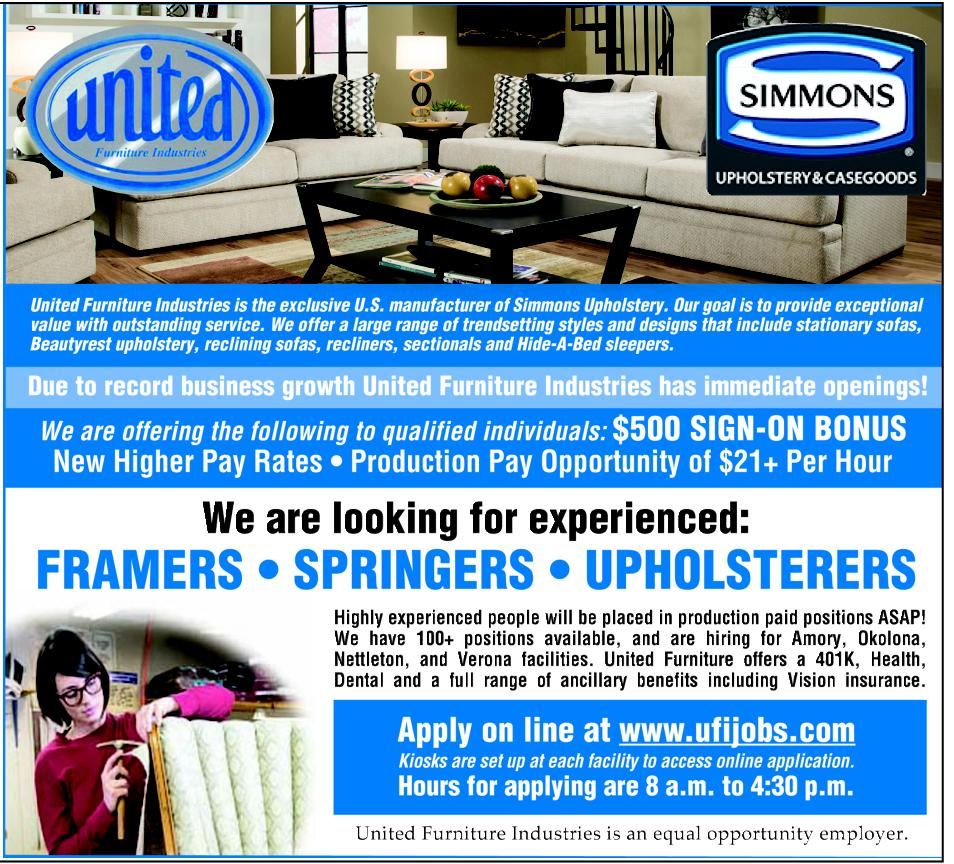 hiring for upholsterers at united furniture industries (tg