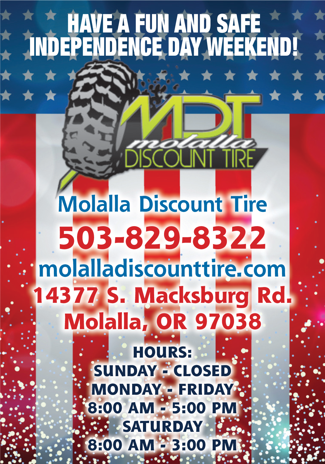 Discount Tire Hours Sunday >> Have A Safe Independence Weekend In Molalla Or Auto Parts
