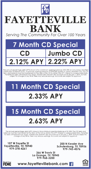 Best Cd Rates >> Best Cd Rates In Fayetteville Tx Banks Fayetteville Bank