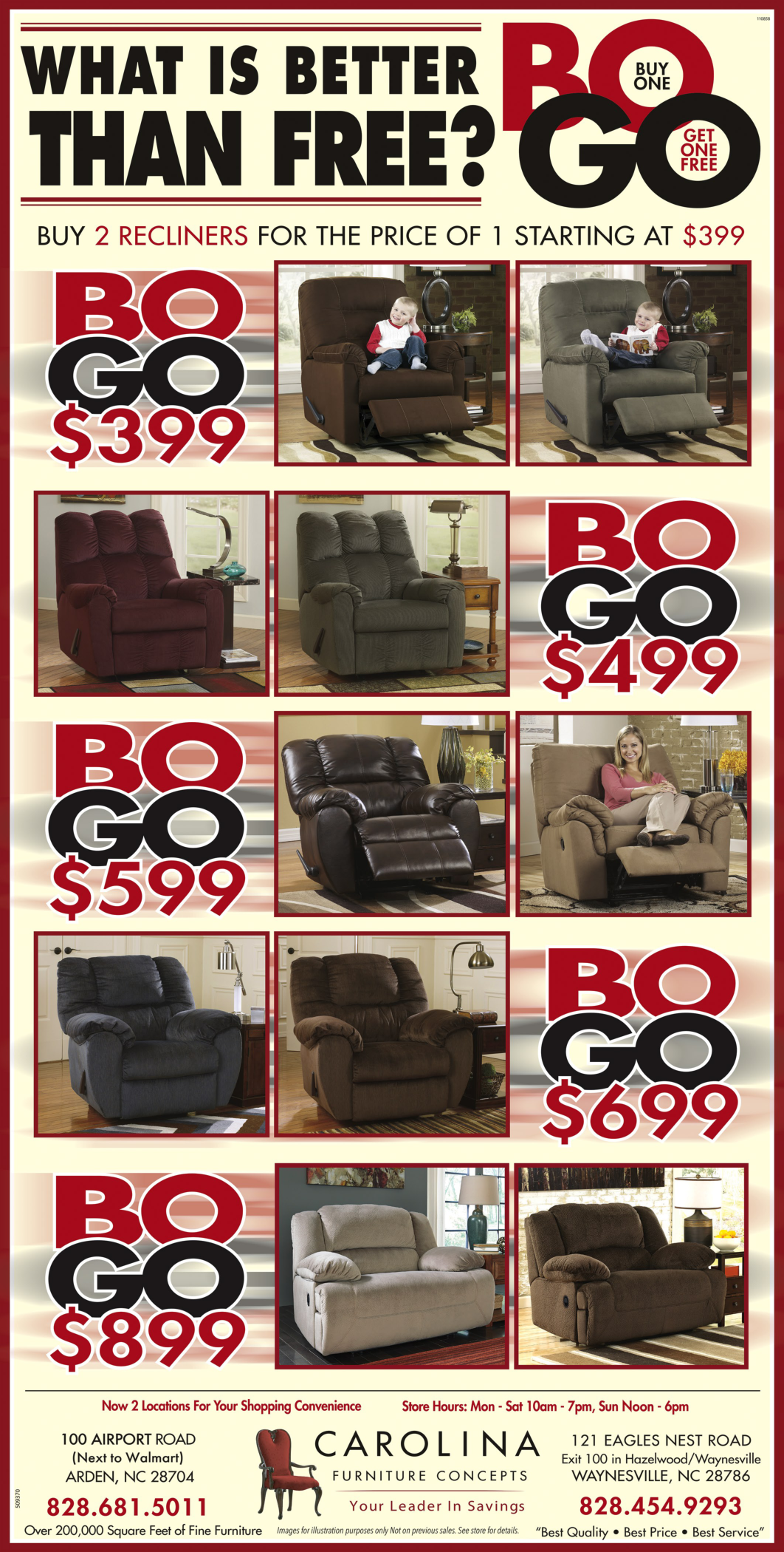 Buy one and get one FREE offer and low pricing on recliners by
